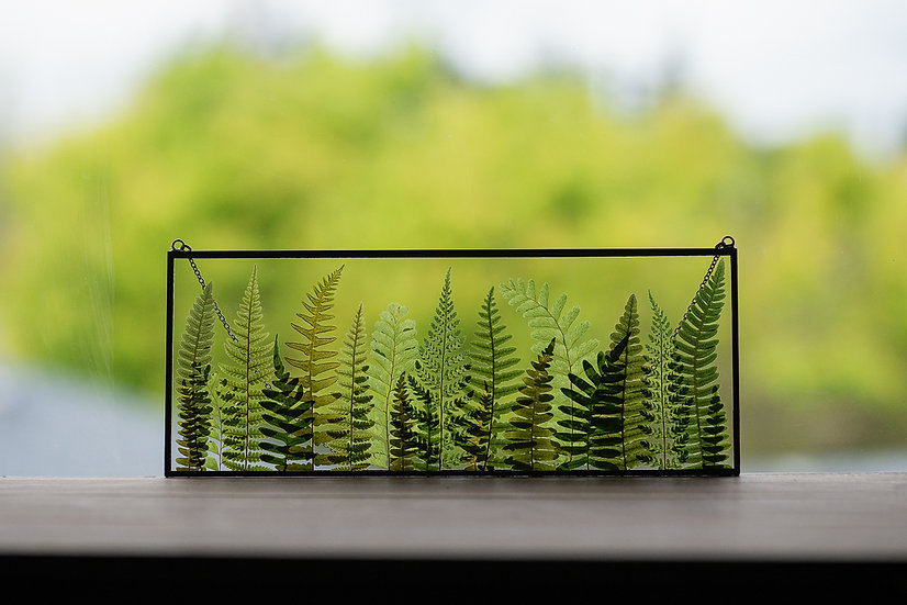 """Fern Forest - Stained Glass UV Frame - 4x10"""" Rectangle (#1)"""