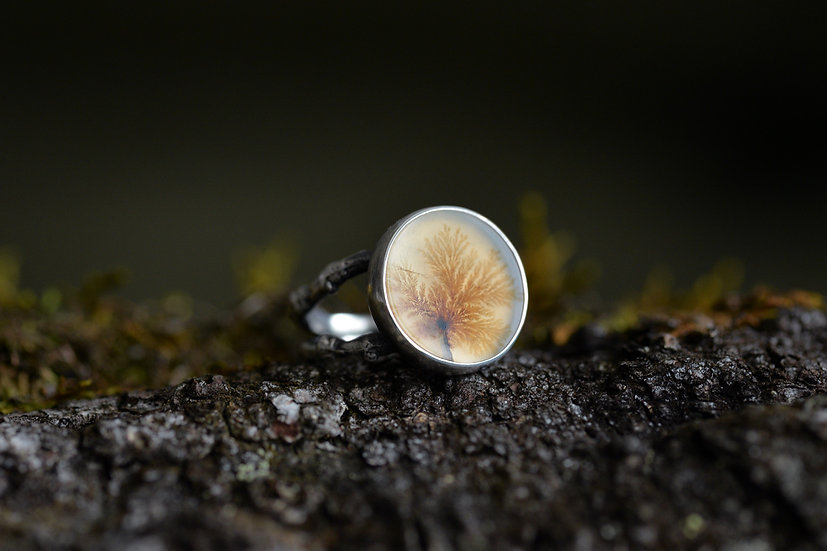 Dendritic Agate Forest Ring - Sterling Silver - Size 6.25