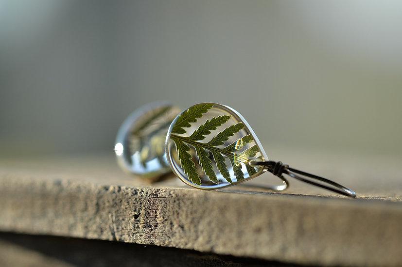 Feather Fern Teardrop Earrings in Fine Silver