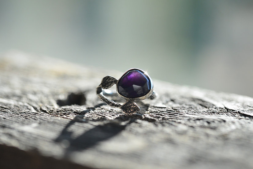 Amethyst Budding Branch Ring - Sterling Silver - Size 5.5
