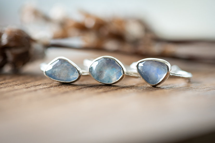 Rainbow Moonstone Twig Rings - Sterling Silver