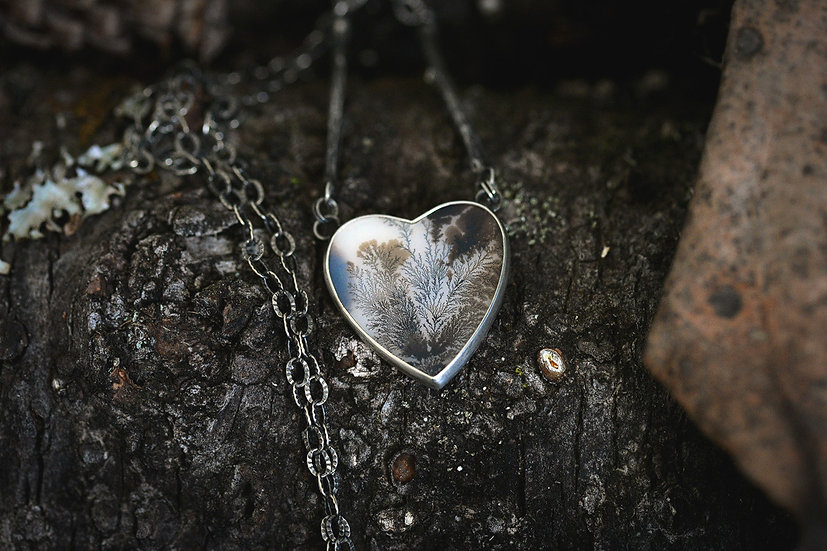 Dendritic Agate Heart & Leaf Necklace - Sterling Silver