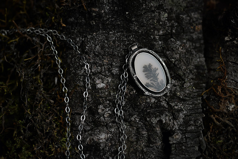 Dendritic Agate Black and White Necklace - Sterling Silver
