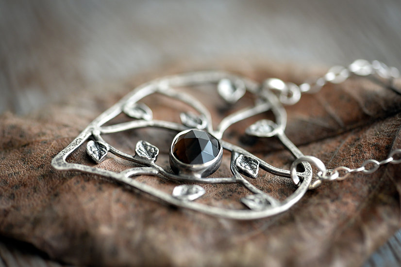 Meadow Necklace with Smokey Quartz - Heart - Sterling Silver