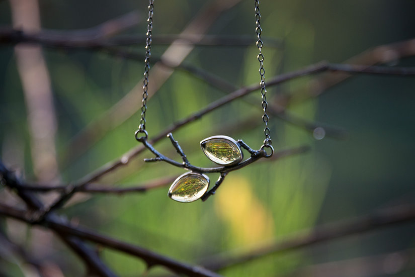 Autumn Amber Branch Necklace - Sterling Silver
