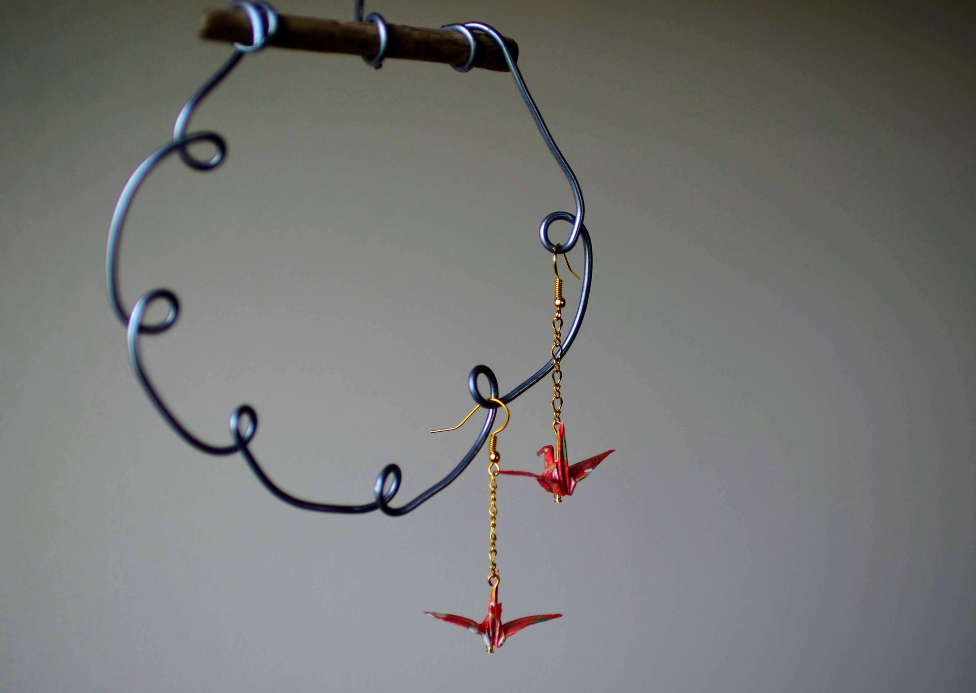 handmade crane earrings