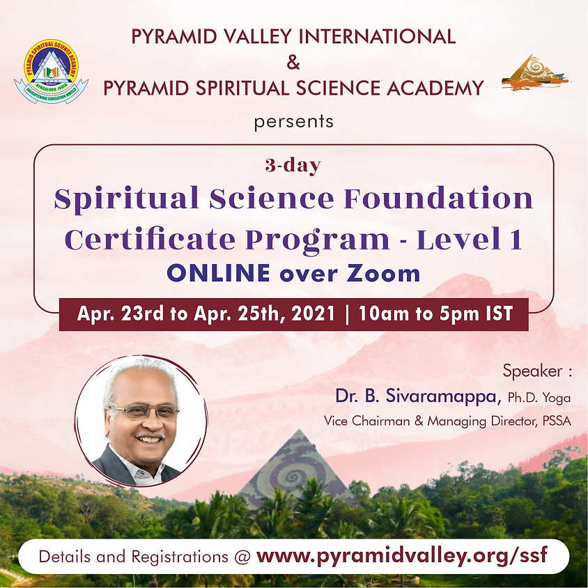 3day Online Spiritual Science Foundation Certificate Course-Level 1