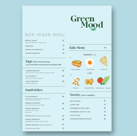Green Mood Menu