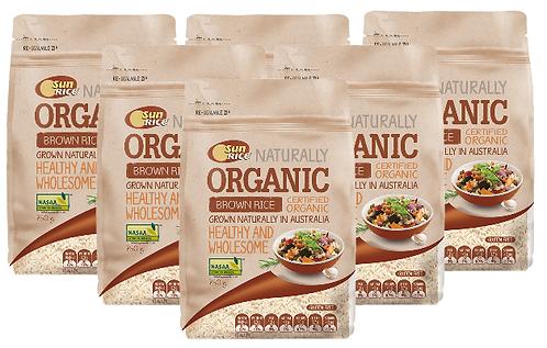 SunRice Australian Organic Brown Rice (CARTON) 6X750
