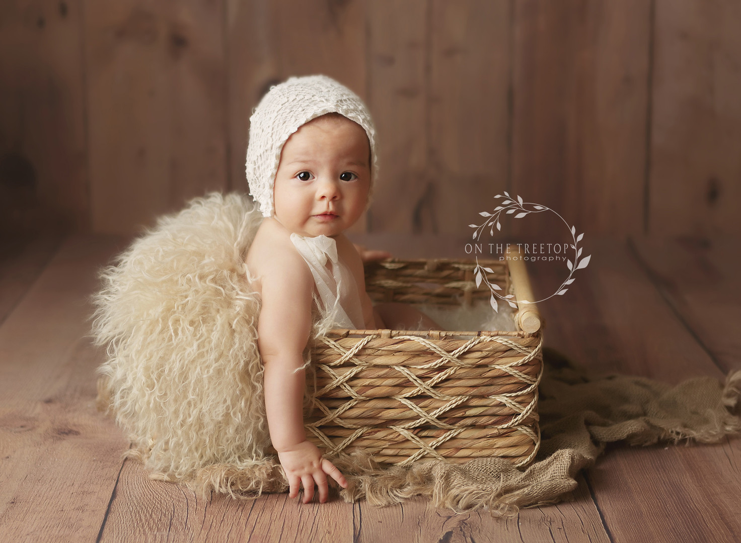 baby photographed in Aliso Viejo in a basket wearing a vintage bonnet