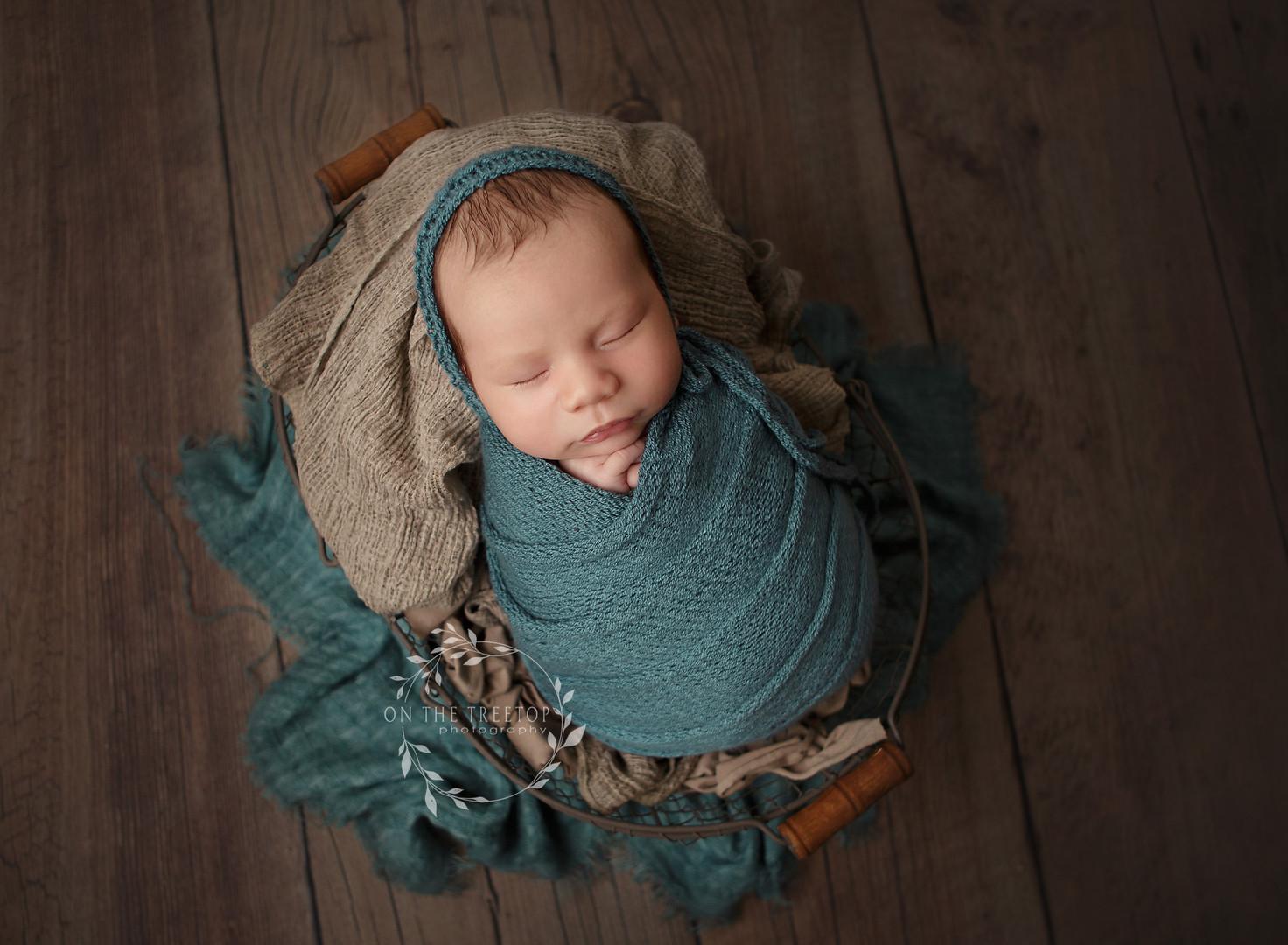 photograph of a newborn boy in a basket