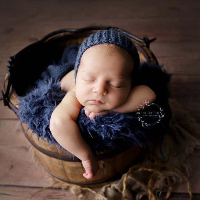 photograph of a new baby boy in a bucket