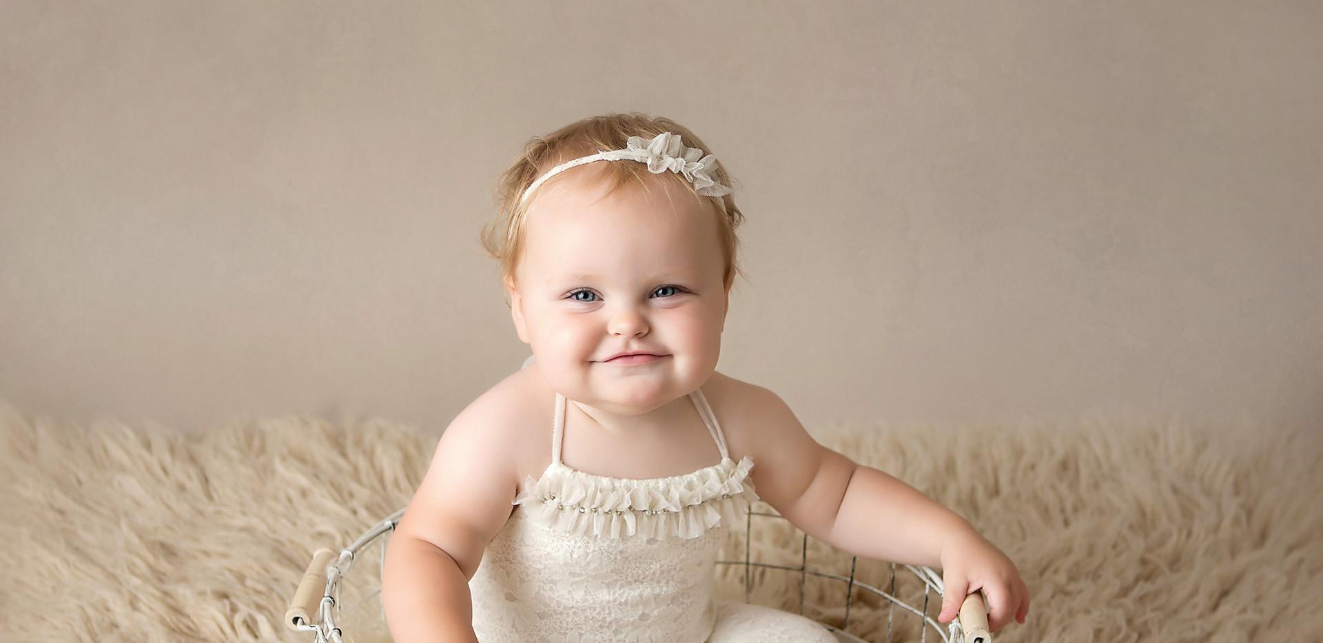 milestone portraits for baby girls first birthday