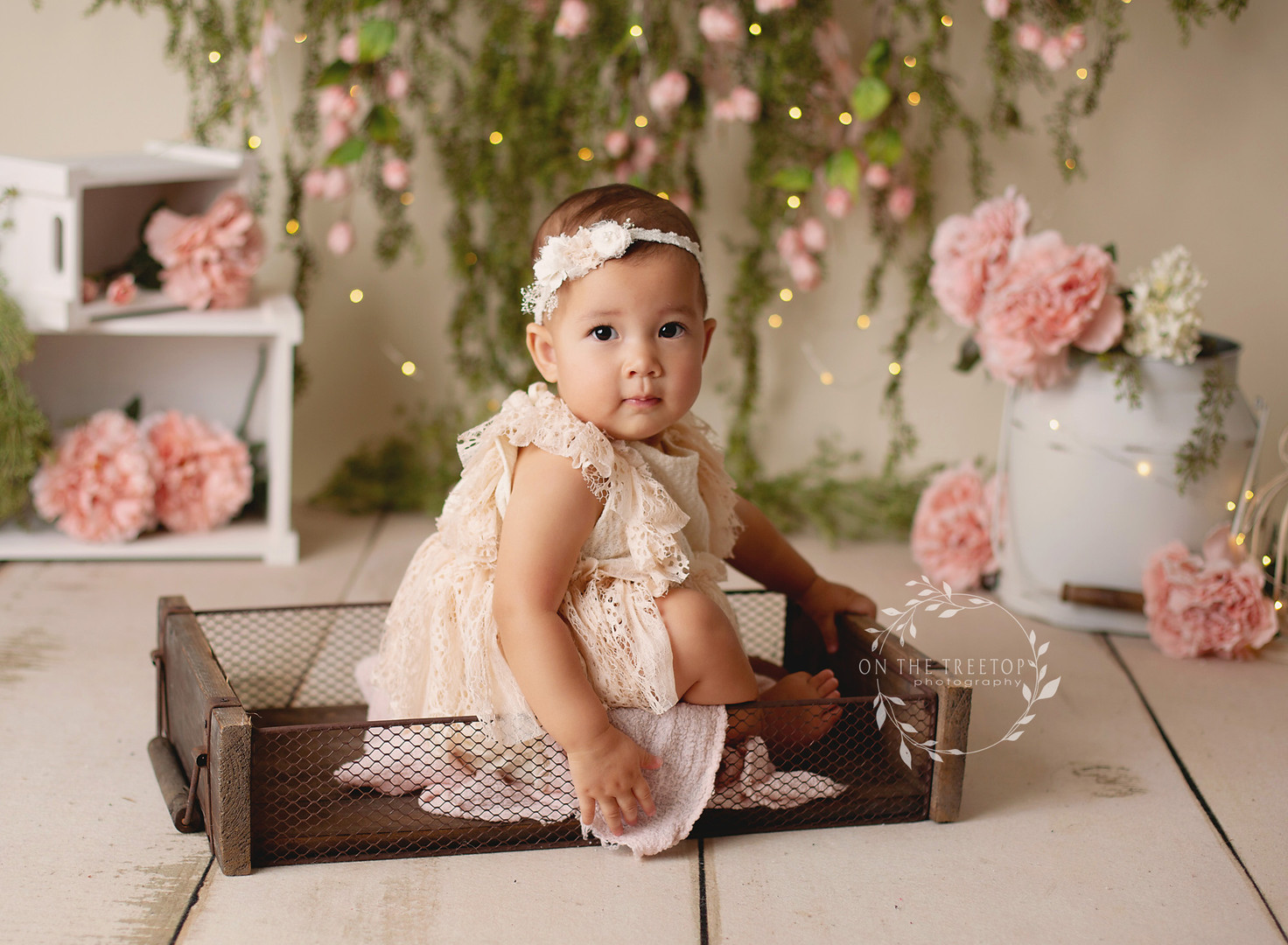 First birthday portraits pink flowers and vintages accesories