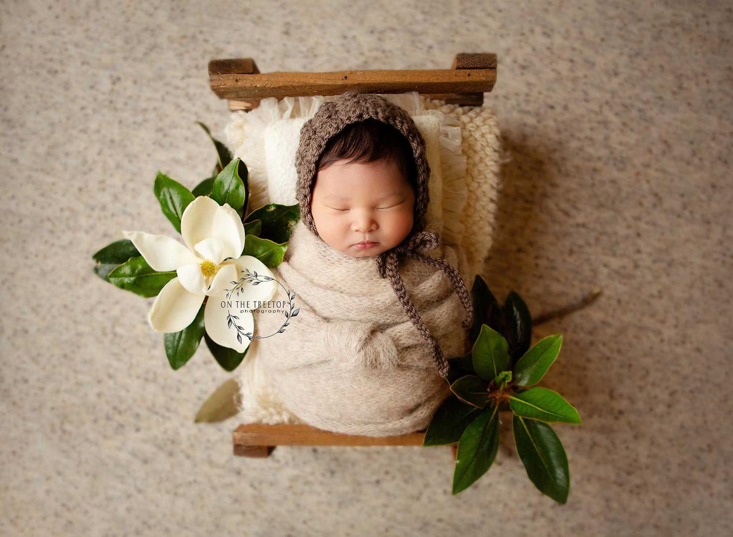 orange-county-newborn-photography-newborn-girl -tiny-bed