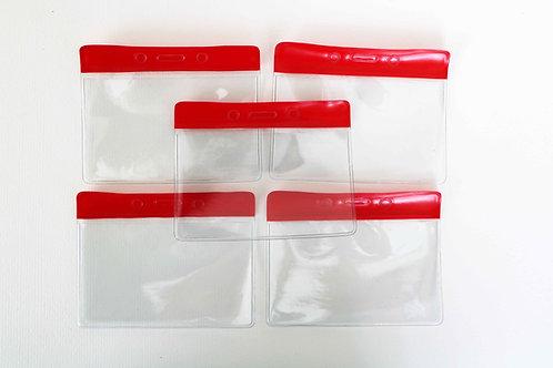 Ausweishülle ohne Clip, hoch, transparent mit Farbbalken