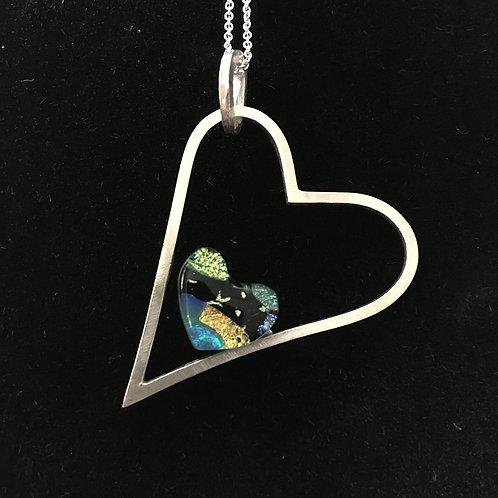 Dichroic mosaic heart pendant