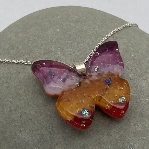 Ground glass butterfly necklace