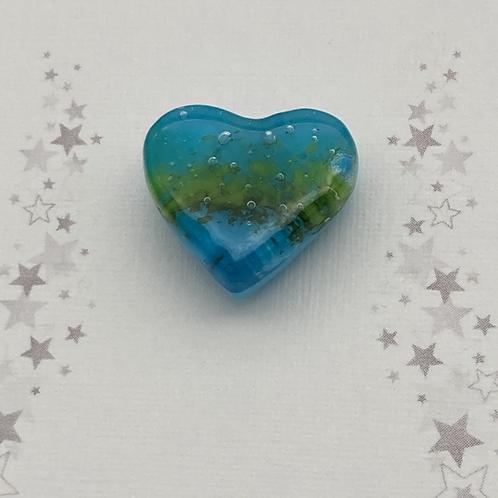 Glass heart pin