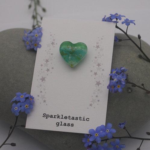 Shades of green heart shaped pin brooch