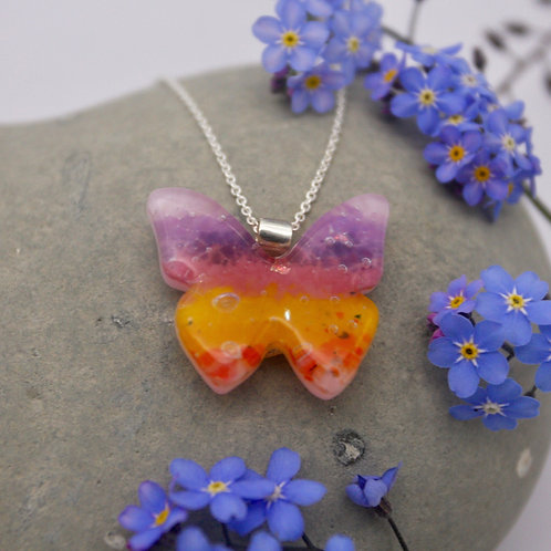 Sunset coloured butterfly pendant