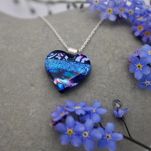 Blue dichroic glass heart shaped pendant