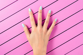 blue nail polish manicure