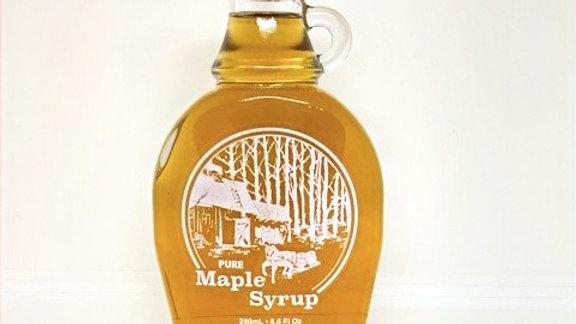 8.5 oz Maple syrup glass with horse scene