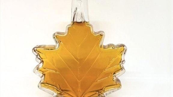 8.5 oz Maple syrup glass shaped leaf