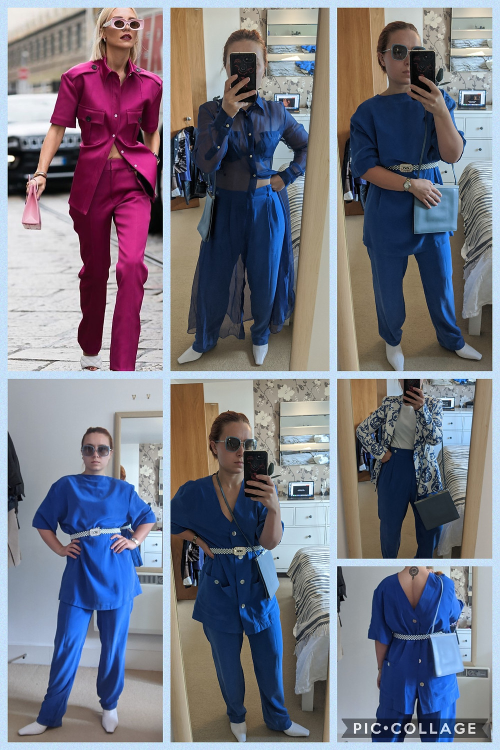 INKStyling posing in different variations of blue trousers and blue top