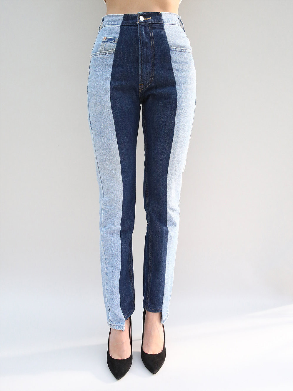 Waist down photo of blue upcycled jeans