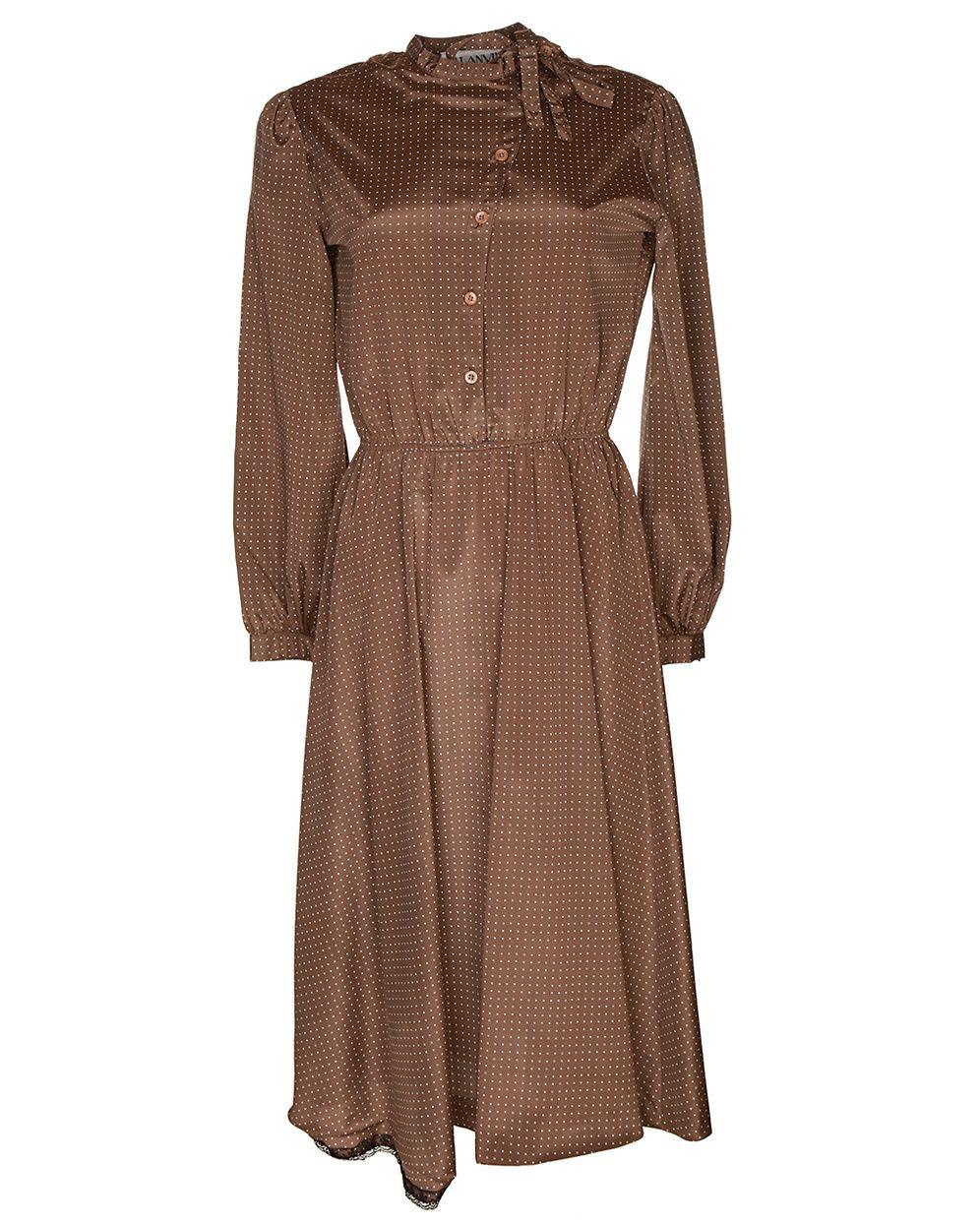 brown silk long-sleeved midi dress