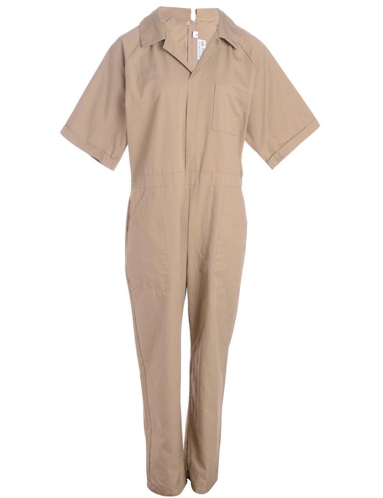 beige short-sleeved boiler suit