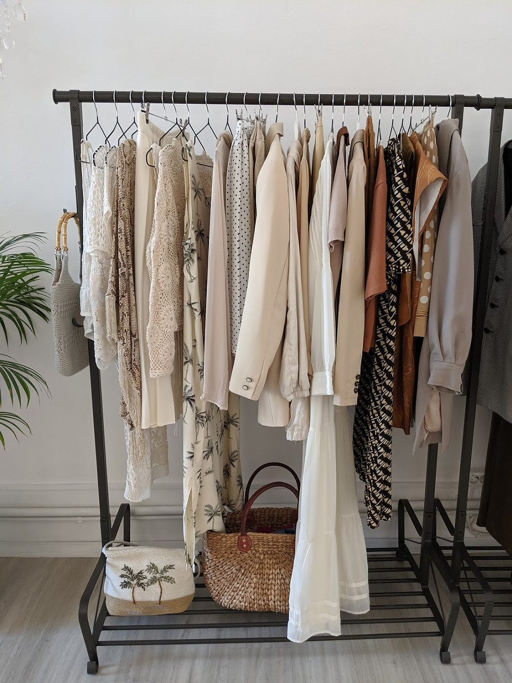 Vintage clothing hanging on the rail.
