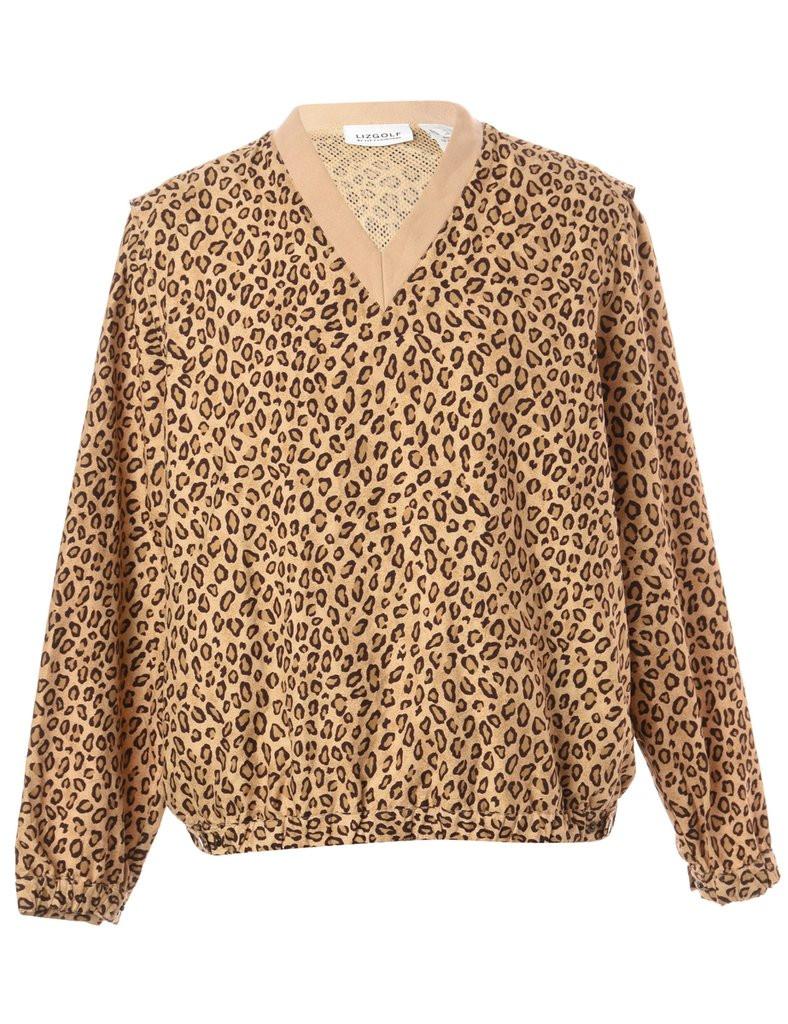 beige leopard v-neck jumper