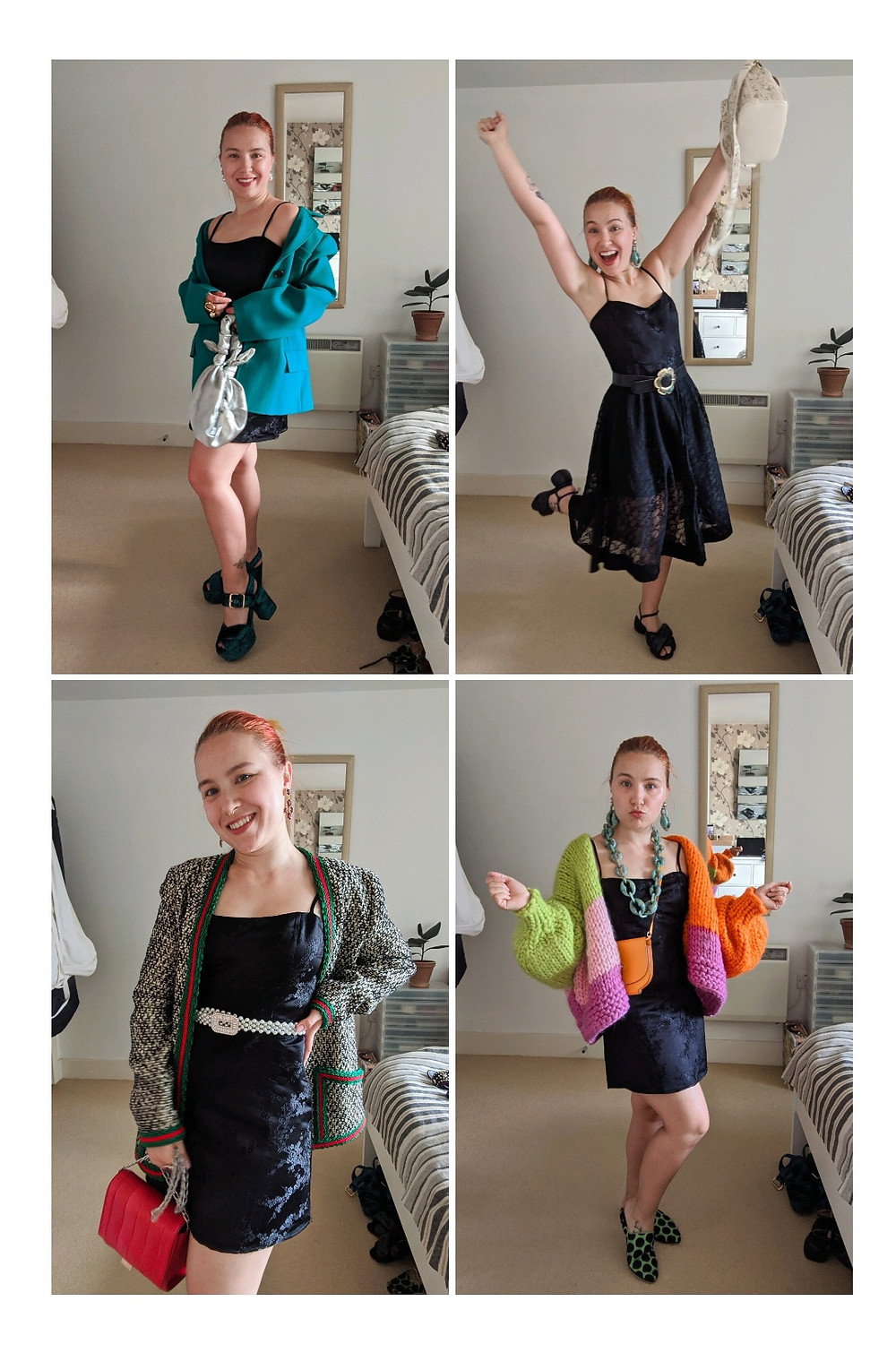 Four images of Tatiana wearing a black mini dress with a turquoise blazer, with a black lace skirt, with a long jumper like blazer and an oversized chunky knit colourful jumper