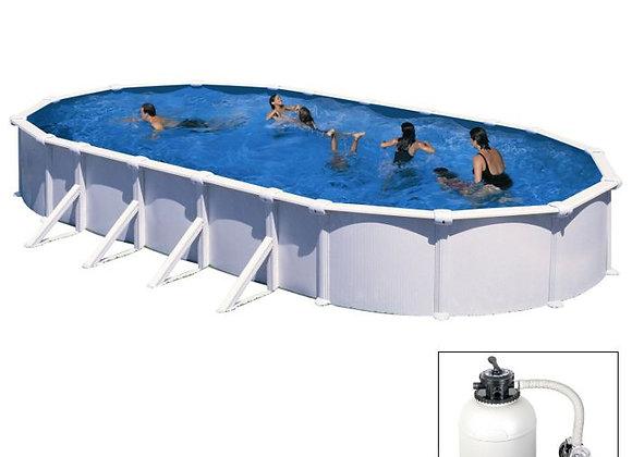 ATLANTIS, piscina fuoriterra Grè bianca, 1000x550x h132 cm, filtro SABBIA
