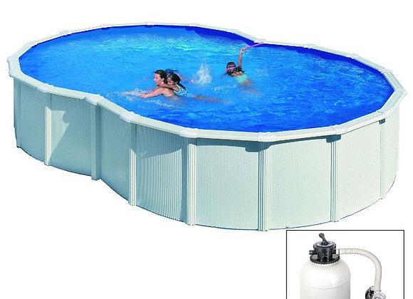 VARADERO, piscina fuoriterra Grè bianca, 640 x 390 x h120 cm, filtro SABBIA