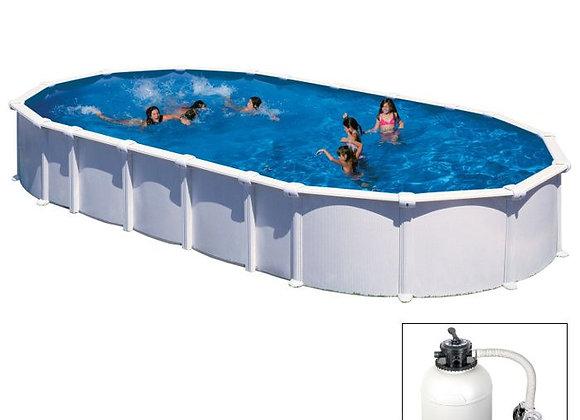 HAITI, piscina fuoriterra Grè bianca 915 x 470 x h 132 cm, filtro SABBIA
