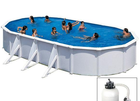 FIDJI, piscina fuoriterra Grè bianco, 800 x 470 x h120 cm, filtro SABBIA