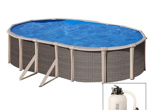 FUSION POOL, piscina fuoriterra IBRIDA 670x370x h135 cm, filtro a SABBIA