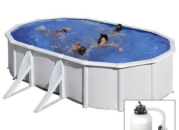 FIDJI,piscina fuoriterra Grè bianca, 610x375xh120cm, filtro SABBIA