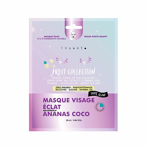 Masque Visage Biocellulose ECLAT ANANAS COCO