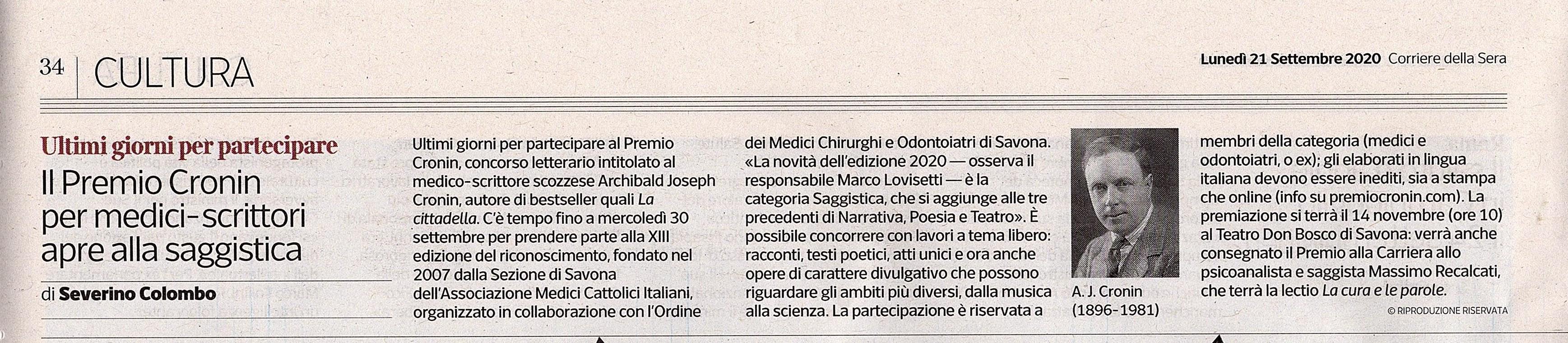 Corriere della Sera - Cronin 21-9-2020