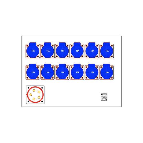 Distro Rack 32a/3 to 12 x 16a/1
