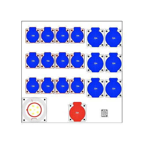 Distro Rack 63a/3 to 1 x 32a/3, 6 x 32a/1, 12 x 16a/1
