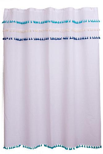 Cortina de baño Flecos boho azul 180x180cm