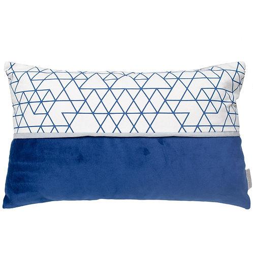Cojín Duo azul geometría 50x33cm