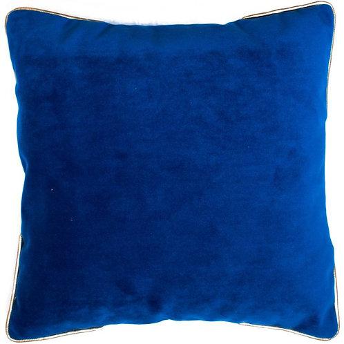 Cojín XL azul ribete dorado 60x60cm
