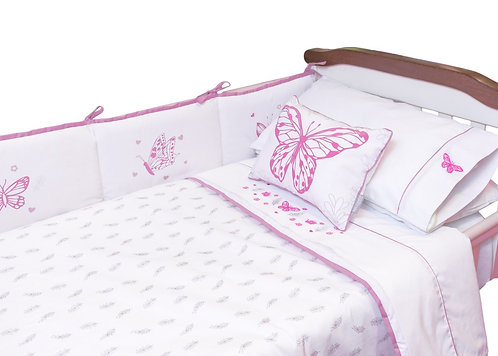 Cobertor de cuna mariposa y ramitas 145x110
